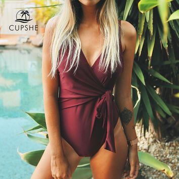 CUPSHE Solid Low Back One-piece Swimsuit