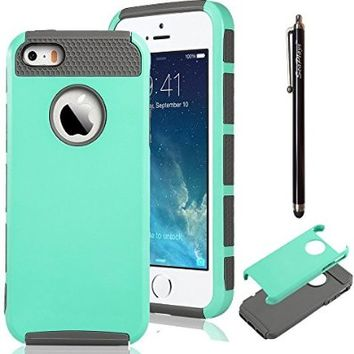 iPhone 5S Case, iPhone SE Case, Hinpia [Seaplays] Dual Layer Ultra Slim Bumper Cover Rugged Hybrid Shock-Absorption and Anti-Scratch Protective Case for Apple iPhone 5 5S SE (Mint/Gray)