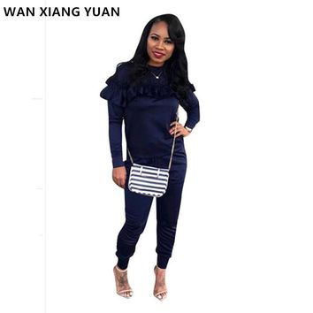 WAN XIANG YUAN Two Piece Set 2017 Winter Women Sportswear 2 Piece Outfit Sets Sweat Suits Pants Women Suit 1205