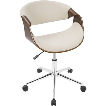 Curvo Mid-Century Modern Office Chair, Walnut & Cream