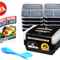 3 Compartment Reusable Microwavable Lunch Meal Prep Containers w Lids,Fork,Ebook