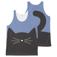 Black Cat, Whiskers and Tail All-Over-Print Tank Top