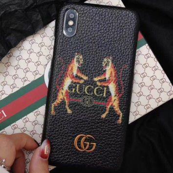 GUCCI New fashion iPhone two tigers print case toughened glass Black