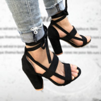 Hot fashion bandage high-heeled sandals with pure color high heels