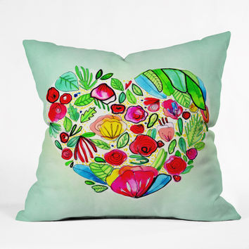 CayenaBlanca Flower Heart Outdoor Throw Pillow