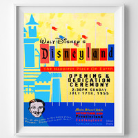 Vintage Disneyland, Poster, Print, Happiest Place, Disney, Fantasyland, Adventureland, Reproduction, Restored, Restoration [No 1283]