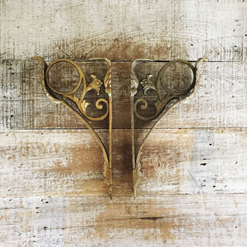 Brackets 2 Brass Shelf Brackets Ornate Wall Brackets Architectural Salvage Metal Support Bracket Ornate Metal Bracket Brass Brackets