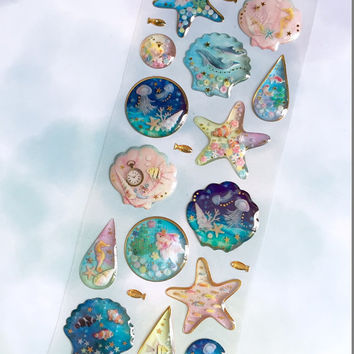 beautiful sea world sticker sea shell jellyfish dolphin clownfish Epoxy sticker seahorse clown fish gold fish deep blue sea fancy sticker