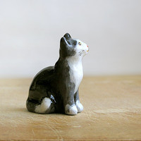 Animal Totem black and white Cat, cat totem, cat tiny figurine, home decor, pocket zoo, black and beige