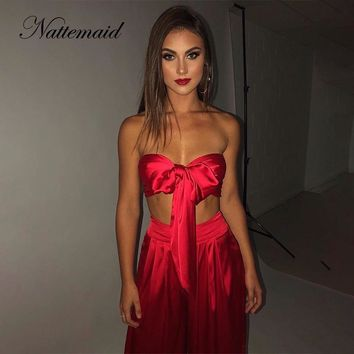 NATTEMAID 2018 Backless Sleeveless Sexy 2 Piece Set Women Two Piece Set Top And Pants Slash Neck Off Shoulder Summer Two Piece