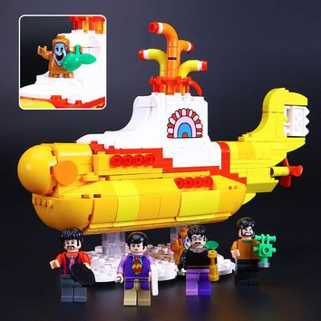 553Pcs Yellow Submarine Model Building Block Bricks Lego Compatible Collectible Toy