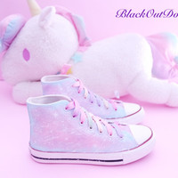 Fairy Kei Pastel Galaxy High Top Sneakers Decora Harajuku Shoes Kawaii