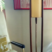 60s MOMUMENTAL MID MOD Floor Lamp - Danish Modern Design Style Mid Century Modern Teak Walnut Wood and Brass Modeline Lamp - Sculptural Wood