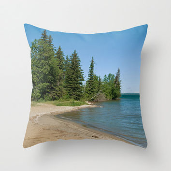Beach Throw Pillow Cover Nature Photography Print Polyester Cottage Chic Decor Pillow Case Beach decor blue green brown