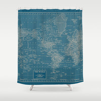World Map Shower Curtain - teal and Cream Decor vintage map - Home Decor - Bathroom - travel, blue, green pastel