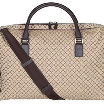 DCCK8BW Gucci Beige GG Diamante Canvas Leather Duffle Carry On Large Travel Shoulder Bag
