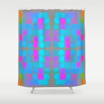 Jolly Good Shower Curtain by Gréta Thórsdóttir  #quilt  #retro #abstract #funky #bathroom #girly #pink #mint