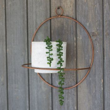 White Wash Clay Pot w/copper Finish Round Wall Sconce