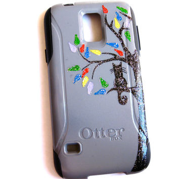 Galaxy S4 Otterbox Case, Otterbox Samsung Galaxy S4 Case Custom, cat on tree Glitter S4 Case