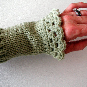 Free Shipping - Women's Sage Green Knit Wrist Warmers - Fingerless Gloves with Crochet Edging - Can be worn as Spats or Boot Cuffs