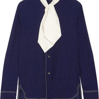 Marni - Pussy-bow crepe blouse