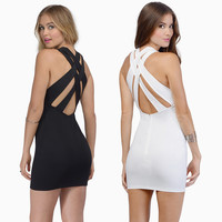 Casual Criss Cross Strappy back Bodycon Mini Dress
