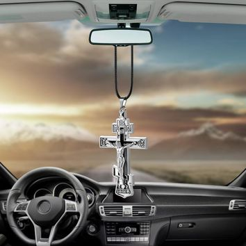Metal Jesus Crucifix Cross Car Rear View Mirror Decoration