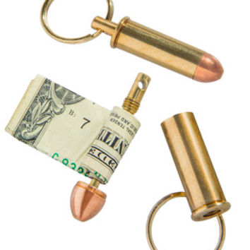 Bullet Cash Keeper Keychain: Store money on your key ring inside a bullet