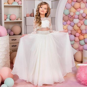 2017 New Flower Girl Dresses with Long Sleeve Little Girls Kids/Child Dress Two Pieces Party Pageant Communion Dress for Wedding