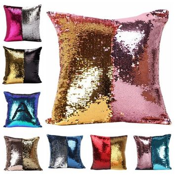 DIY Magic Letter Double Color Glitter Sequins Throw Pillow Case Cafe Home Square Cushion Covers Hot Sale