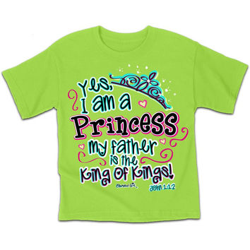 Cherished Girl Youth Kids Yes I am a Princess Christian Girlie Bright T Shirt