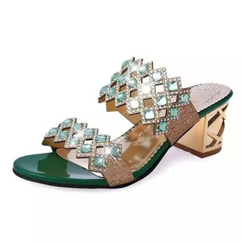 Summer Sandals Women Peep Toe High Heels Sandals With Crystal Casual Slides Woman Shoes