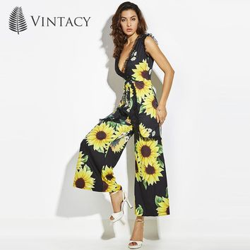 Vintacy NEW designer women summer Jumpsuits playsuits vacation Sunflower overalls fashion beach rompers women Jumpsuit bodysuit