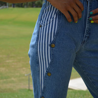 Super High Waisted Jeans, Extra Long Jeans, Size 2, Size 4, Vintage Jeans, Denum Jeans, Vintage Denim, Striped Jeans, Unique, Funky, Retro