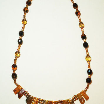 Handmaded Original Vintage Amber, Bohemia Glass Beads Necklace.