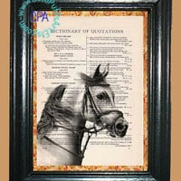 Portrait of a White Bridled Horse - - Vintage Dictionary Book Page Art-Upcycled Page Art,Wall Art,Collage Art, Equine Art - Horse Print