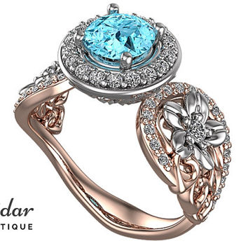 Aquamarine Engagement Ring,Flower Engagement Ring,Unique Engagement Ring,Two Tones Ring,Leaves Engagement Ring,Halo Engagement Ring,Floral