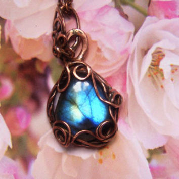 Copper pendant pendant necklace Birthday gift for her Gifts for mom Blue Labradorite pendant Pendant necklace Tender Bohostyle FREE SHIPPING