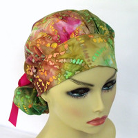 Womens Bouffant Surgical Scrub Hat or Cap Tie Dye Dots