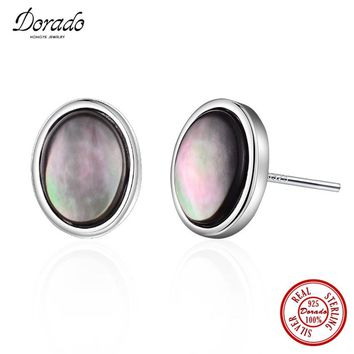 Dorado New Brand 925 Sterling Silver Jewelry Bright Oval Black Opal Stone Stud Earring Top Quality Free Gift Box
