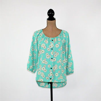 Mint Green Blouse Daisy Floral Print Peasant Top Women 3/4 Sleeve High Low Small Medium Womens Clothing