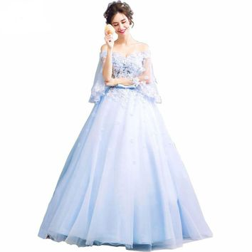 Blue Sweet Dresses Ball Gowns Dresses 3/4 Sleeves Floral Lace Applique Dress