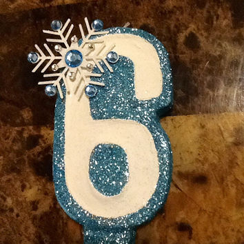 Snowflake Glitter Painted Birthday Candle - painted candle birthday candle party decor cake topper glitter candle birthday cake party decor