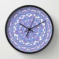 Lilac Spring Mandala - floral doodle pattern in purple & white Wall Clock by Micklyn