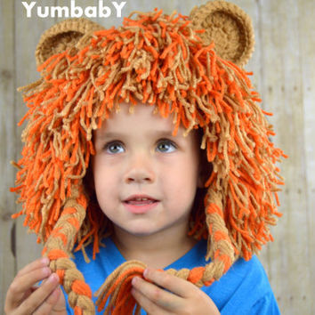 Lion Wig Halloween Costume Lion Hats Costumes for Kids- Burnt Orange and Light Brown