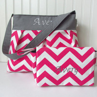 Pink Chevron Diaper Bag Set with Diaper Clutch with Gray or choose your own with Zipper Pocket