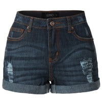 LE3NO Womens Vintage Washed Distressed Stretchy Denim Jean Shorts