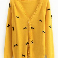 Wool Yellow Long Sleeve Lace V-Neck Single-Breasted Bowknot Decoration Sweater  style 819my017-Yellow