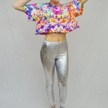 Tie Dye Crop Top Large Shirt Rainbow Soft Grunge Hippie PLUR Watercolor Abstract Funky Handmade Tie Dye T Shirt Women Clothing Psychedelic