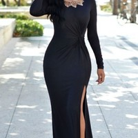 Black Knotted Front Long Sleeves Gown
